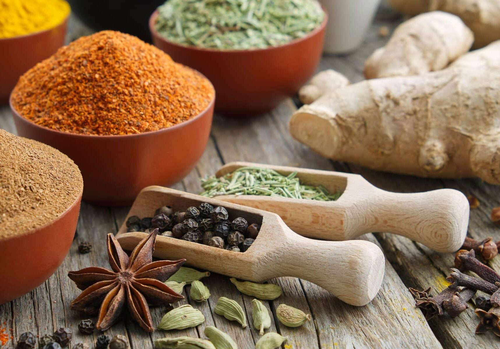 Aromatic spices and herbs. Ingredients for cooking. Ayurveda treatments.